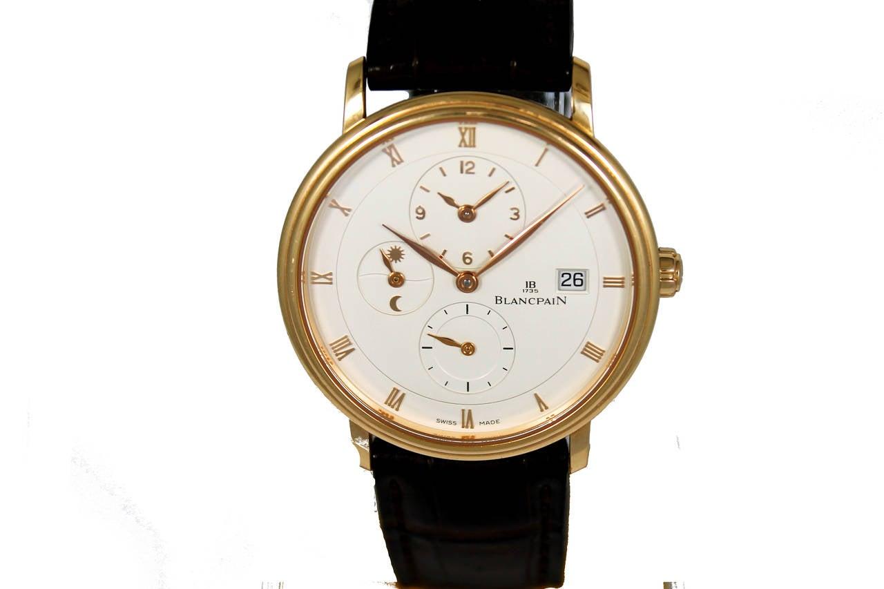 Blancpain Rose Gold Villeret Ultra Slim Dual Time Wristwatch 2
