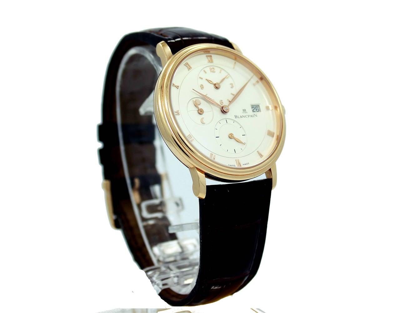 Blancpain Rose Gold Villeret Ultra Slim Dual Time Wristwatch 3