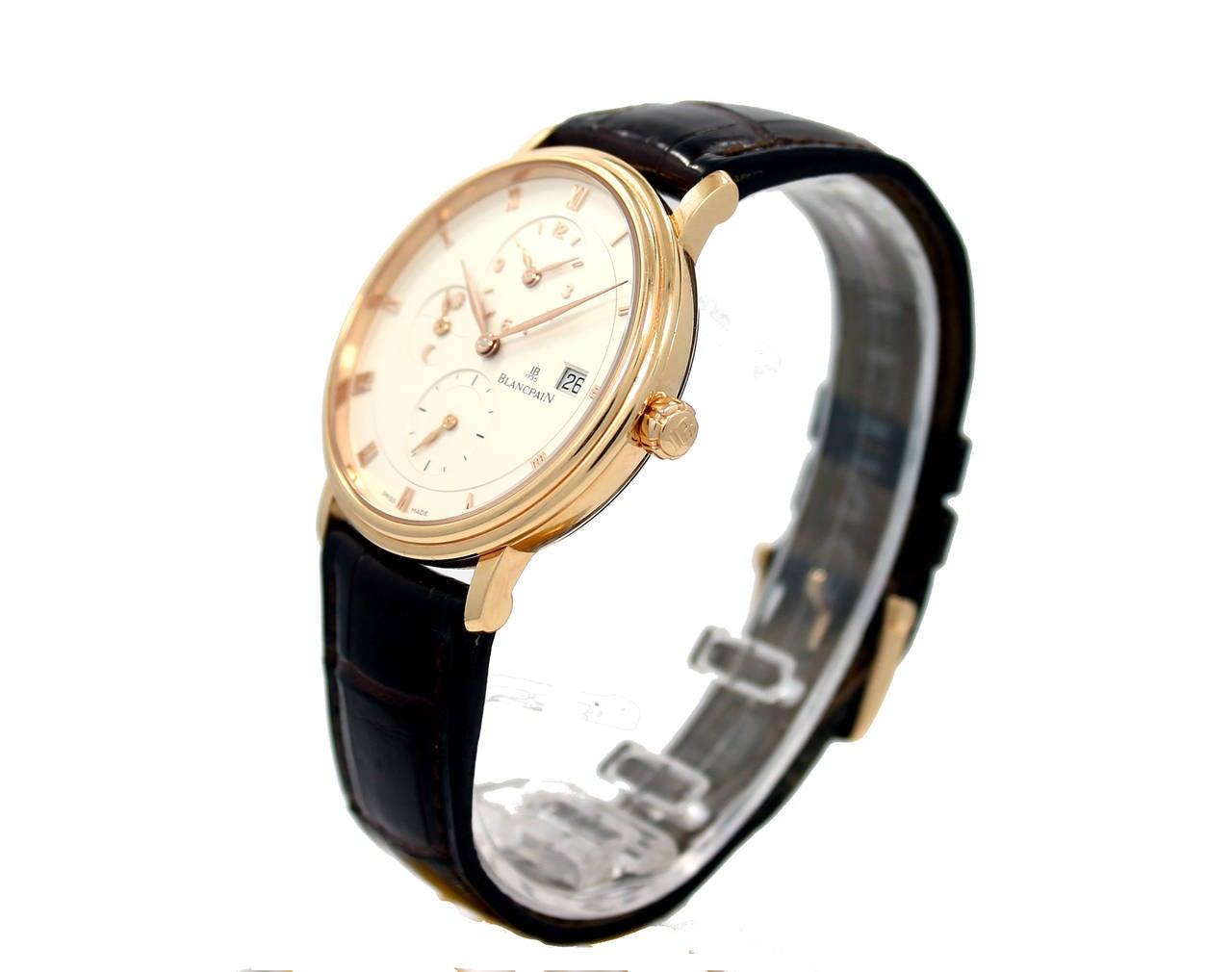 Blancpain Rose Gold Villeret Ultra Slim Dual Time Wristwatch 4