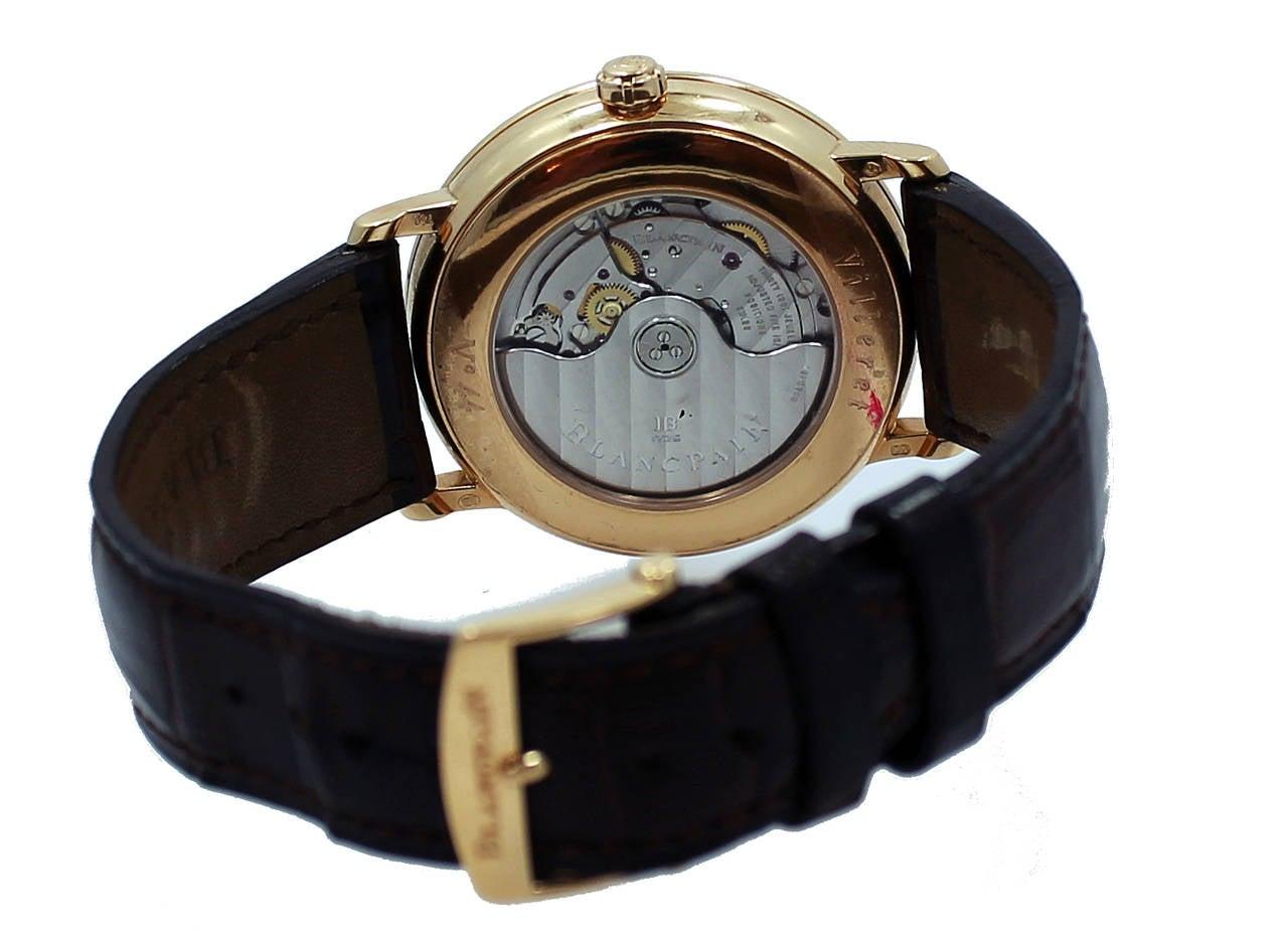 Blancpain Rose Gold Villeret Ultra Slim Dual Time Wristwatch 6