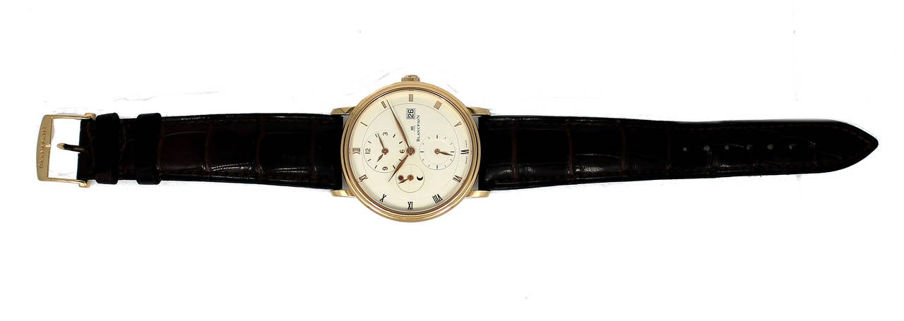 Blancpain Rose Gold Villeret Ultra Slim Dual Time Wristwatch 8