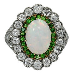Art Deco Platinum Opal and Diamond Ring