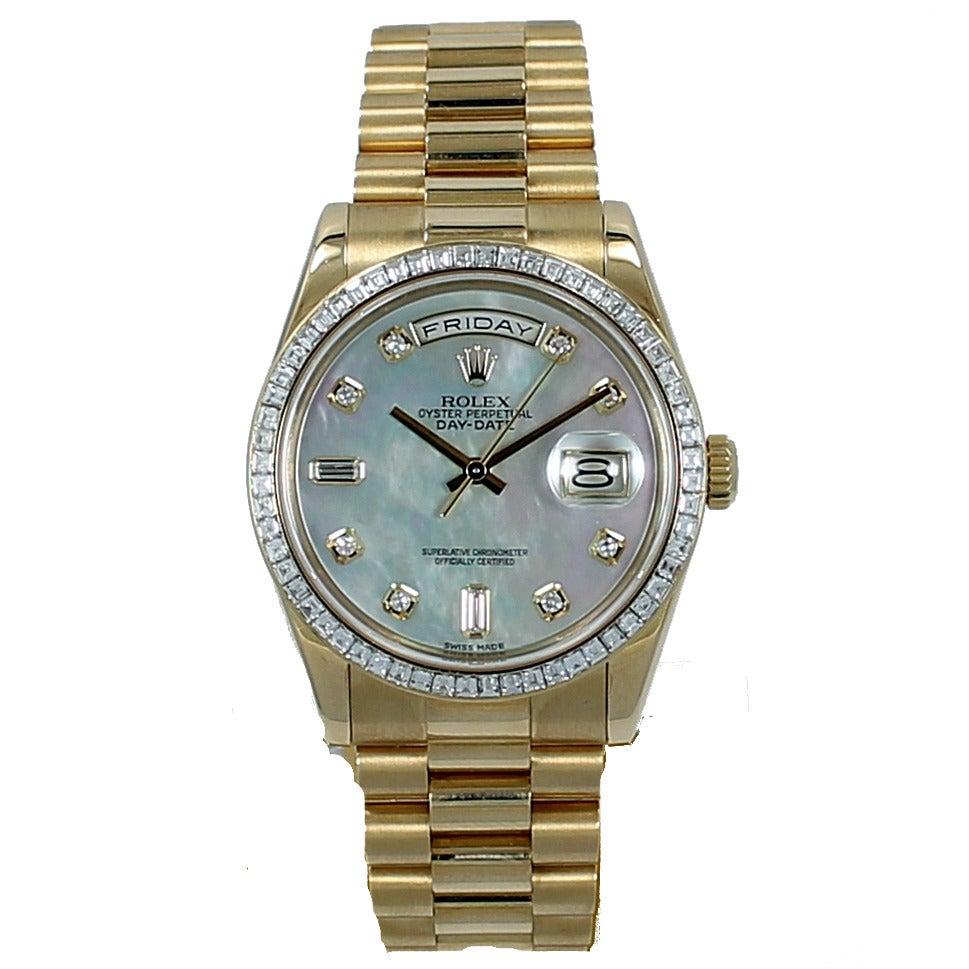 Rolex Yellow Gold Diamond Bezel Day-Date President Wristwatch For Sale