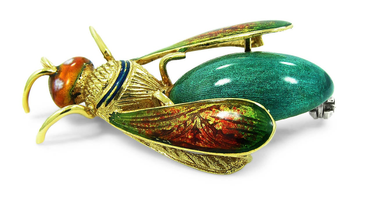 Enamel Gold Bug Brooch 2