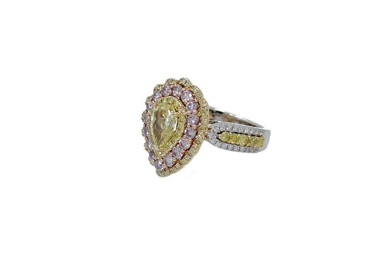 Fancy Intense Yellow Pear Shaped Diamond Ring with Pink and White Diamonds Fo