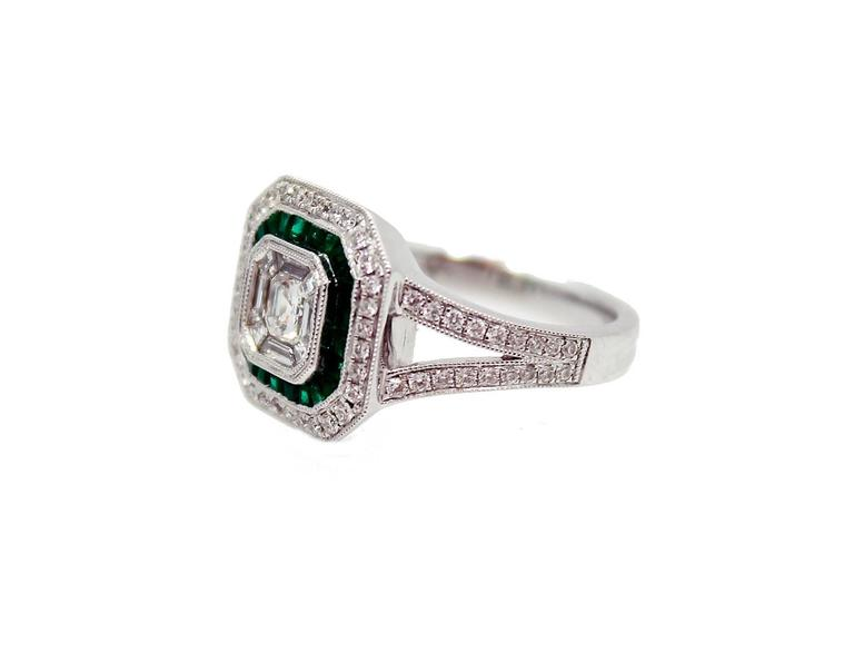 emerald pave gold mosaic ring for sale at 1stdibs