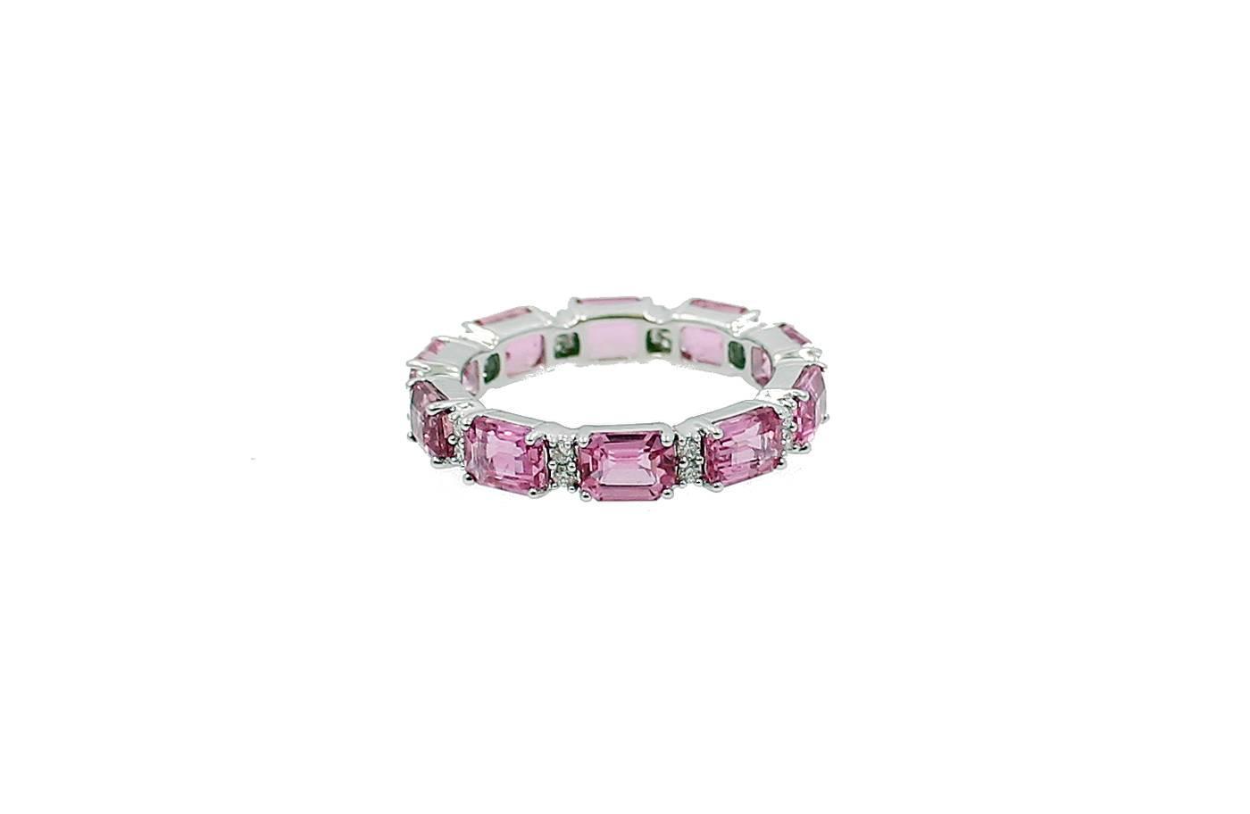 Emerald Cut Pink Sapphire Diamond Gold Eternity Band Ring
