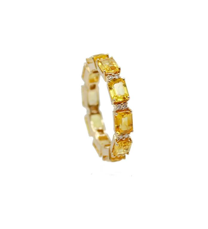 Women's or Men's Sapphire diamond gold eternity band ring For Sale