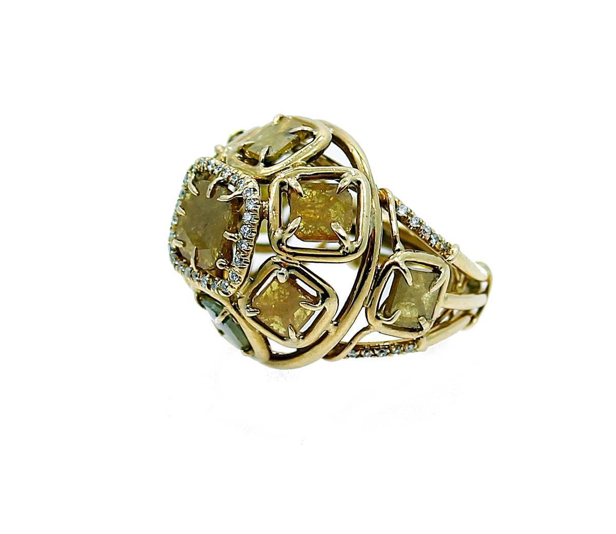 Natural Yellow Diamond Slices Gold Ring For Sale at 1stdibs