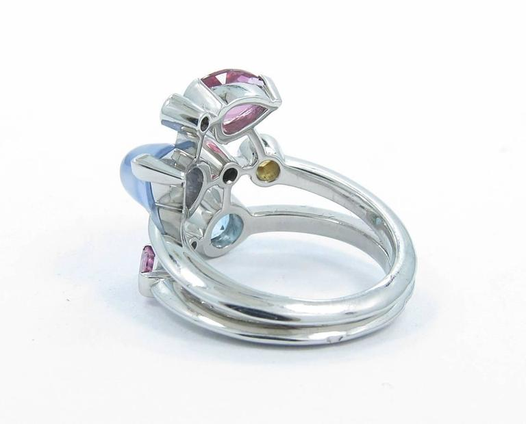 Cartier Meli Melo Multicolor Gemstone Diamond Platinum Ring 4