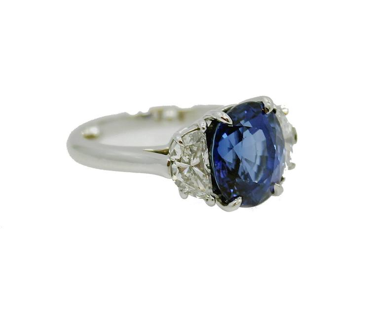 Tiffany & Co. 5.99 carat Natural Blue Sapphire Diamond Platinum Ring 3
