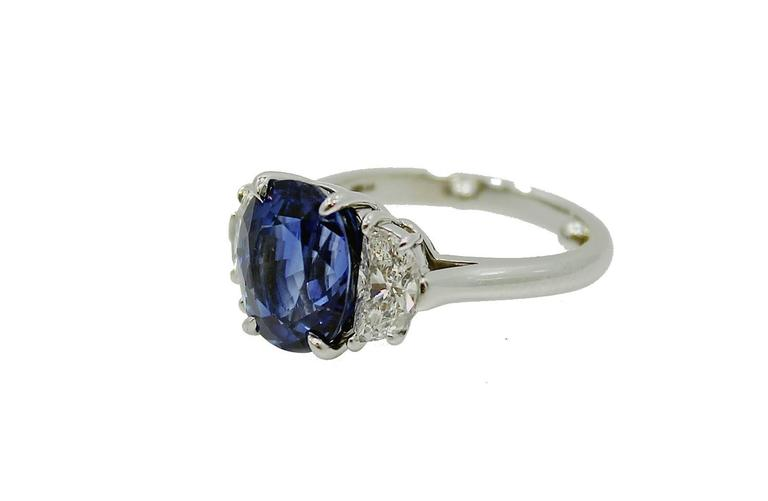 Tiffany & Co. 5.99 carat Natural Blue Sapphire Diamond Platinum Ring 2