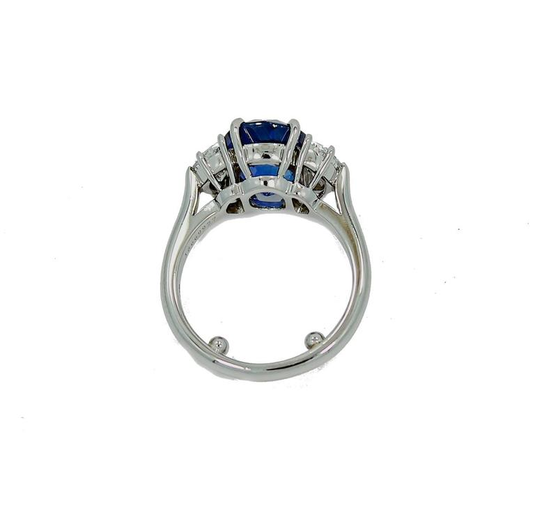 Tiffany & Co. 5.99 carat Natural Blue Sapphire Diamond Platinum Ring 5