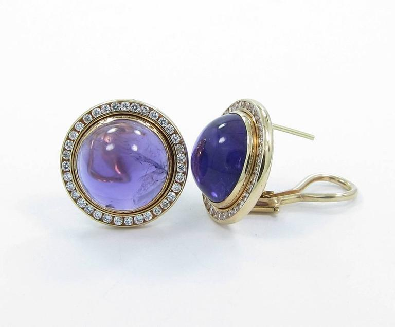Cabochon Amethyst Diamond Gold Earrings 2