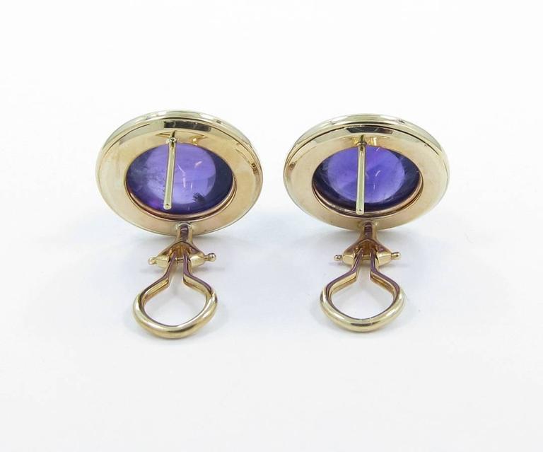 Cabochon Amethyst Diamond Gold Earrings 3