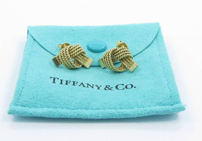 Tiffany & Co. Gold Love Knot Rope Earrings 2