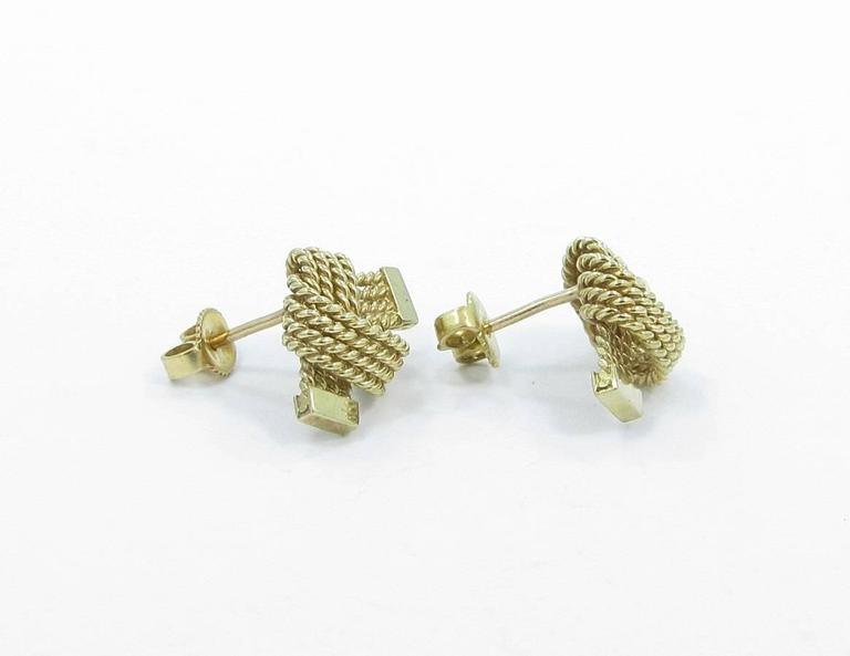 Tiffany & Co. Gold Love Knot Rope Earrings 3