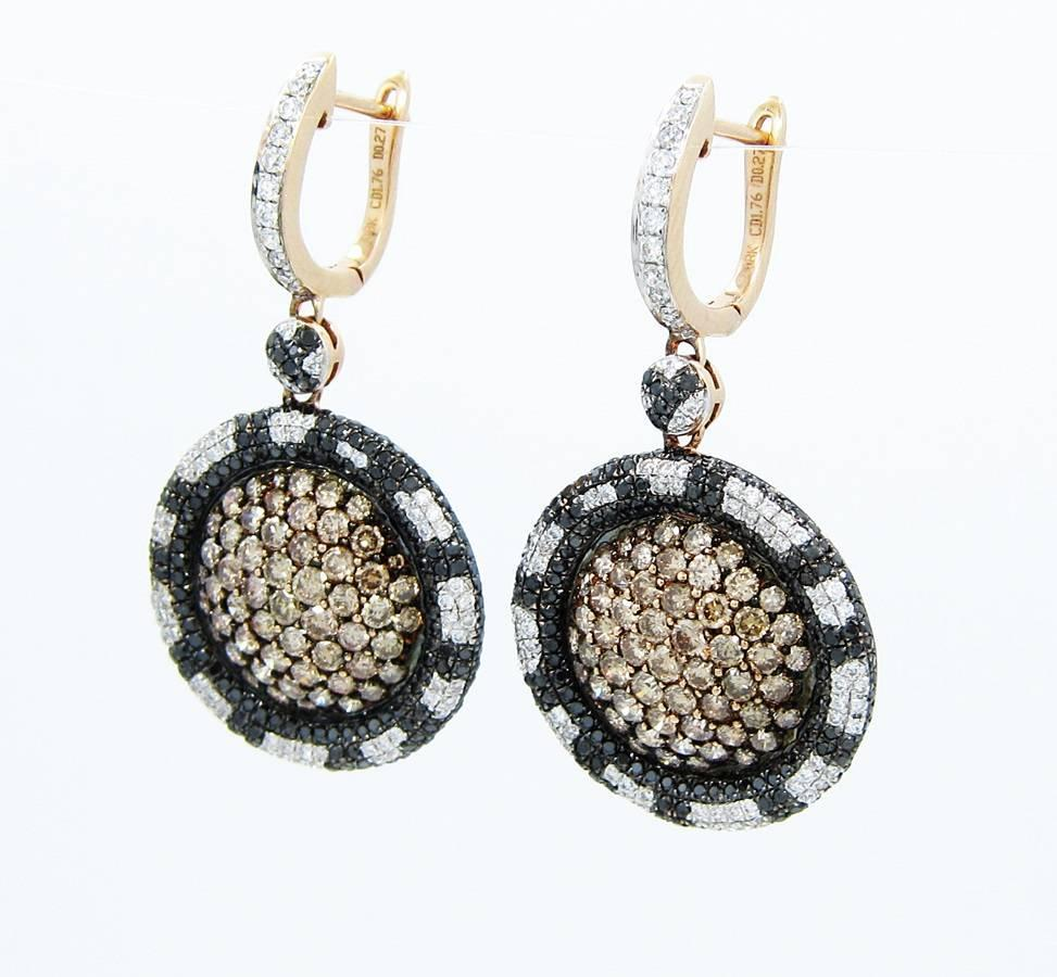 levian chocolate black and white gold earrings at