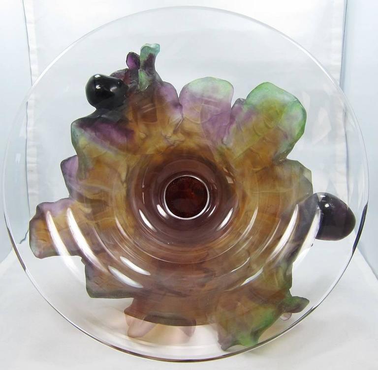 Daum France Quot Pate De Verre Quot Grape Bowl Glass For Sale At