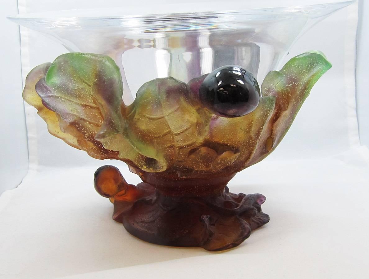daum france pate de verre grape bowl glass for sale at 1stdibs. Black Bedroom Furniture Sets. Home Design Ideas