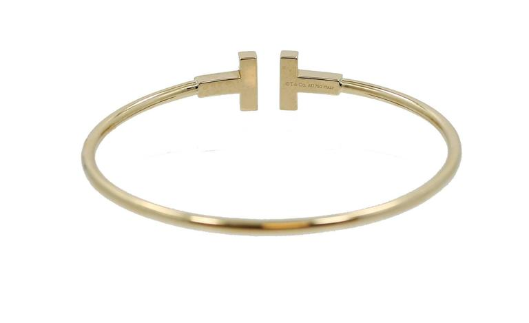 Tiffany & Co. T Diamond Gold Wire Bracelet 3