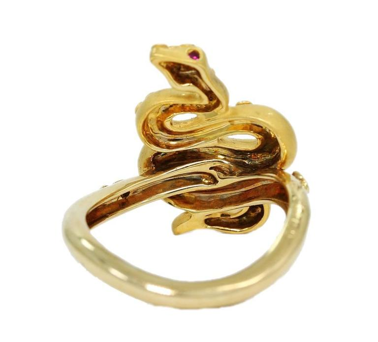 Carrera y Carrera Ruby Diamond Gold Serpent Snake Ring 4