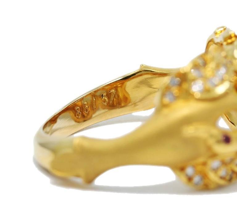 Carrera y Carrera Ruby Diamond Gold Double Swan Ring  6