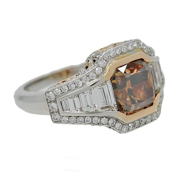 18K Gold Ring with Fancy Range Brown Cshion Cut Diamond GIA Report In As new Condition For Sale In Naples, FL
