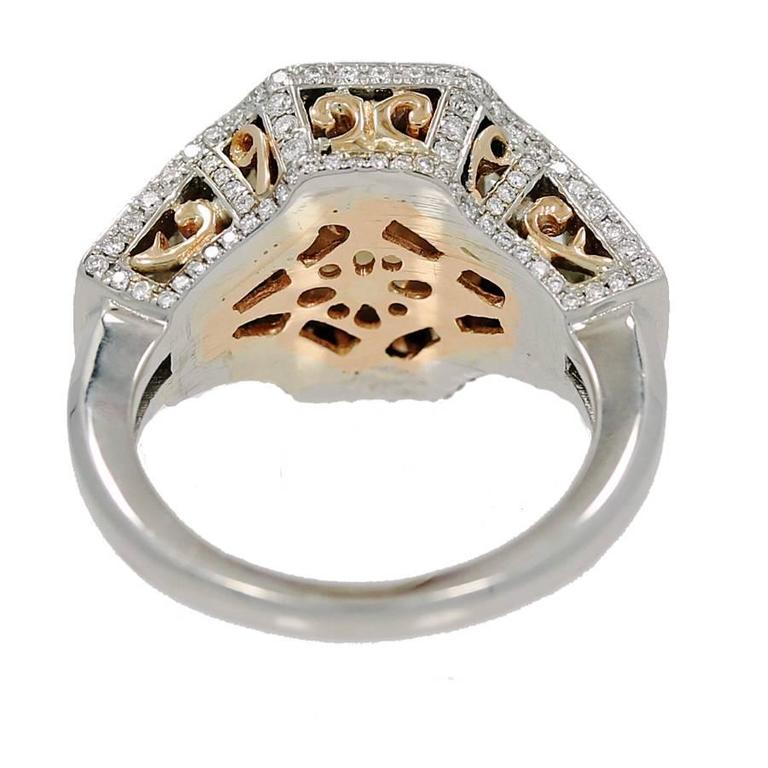 Women's or Men's 18K Gold Ring with Fancy Range Brown Cshion Cut Diamond GIA Report For Sale