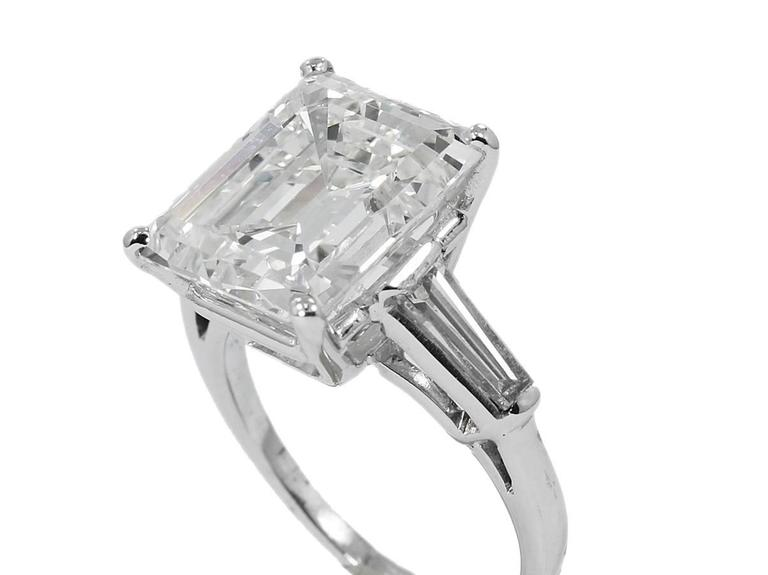 8.25 Carat GIA Emerald Cut Diamond Baguettes Platinum Engagement Ring  2