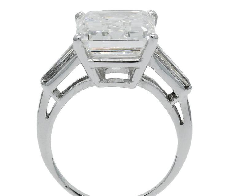8.25 Carat GIA Emerald Cut Diamond Baguettes Platinum Engagement Ring  4