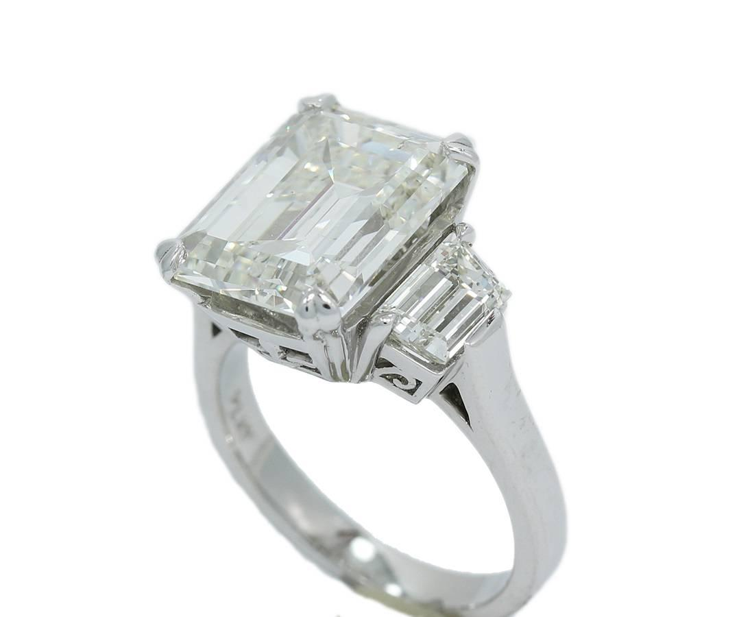 7 00 Carat GIA Emerald Cut Diamond 3 Stone Engagement Ring For Sale at 1stdibs
