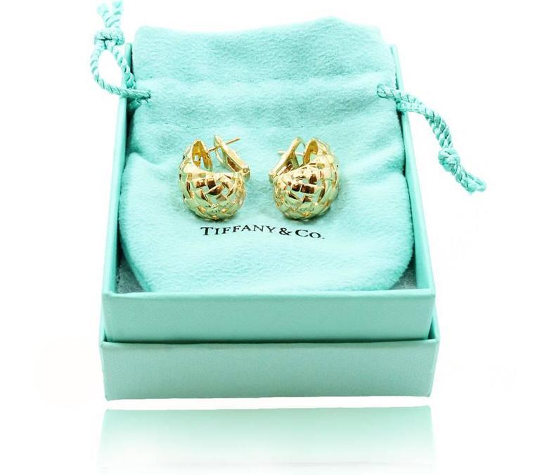 Women's  Tiffany & Co. Woven Gold Basket Earrings For Sale