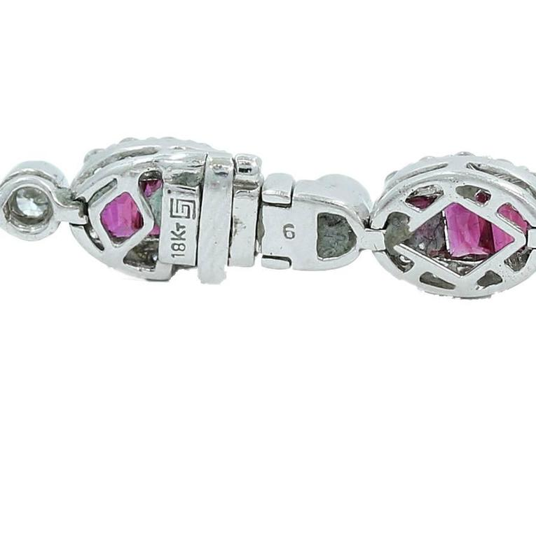 Ruby and Diamond Tennis Bracelet 9cts White Gold  In Excellent Condition For Sale In Naples, FL