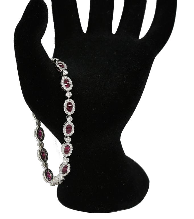 Women's or Men's Ruby and Diamond Tennis Bracelet 9cts White Gold  For Sale