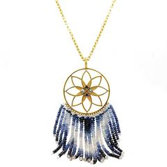 Buddha Mama Dream Catcher Moonstone Sapphire Gold Necklace