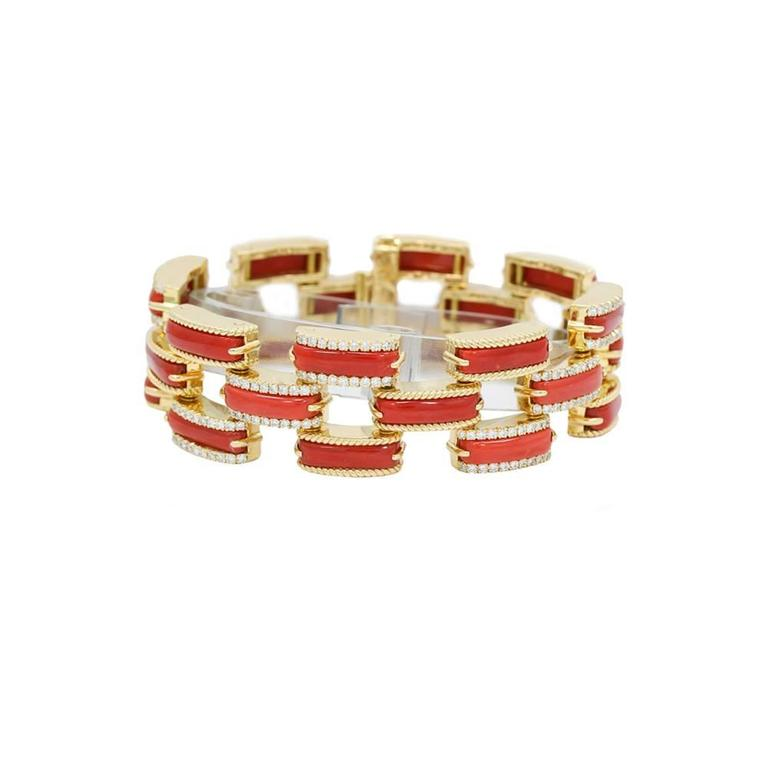 Mediterranean Half Moon Coral Diamond Yellow Gold Bracelet In Excellent Condition For Sale In Naples, FL