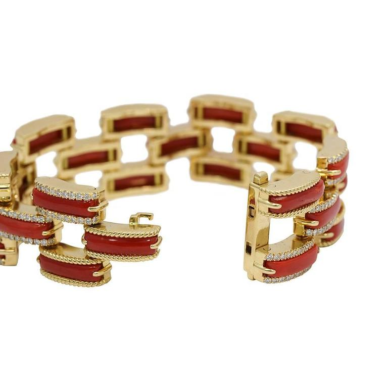 Women's or Men's Mediterranean Half Moon Coral Diamond Yellow Gold Bracelet For Sale