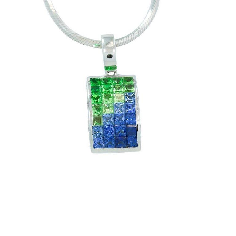 Blue green sapphire diamond white gold pendant white gold snake up for sale is this beautiful 18k white gold diamond blue and green sapphire pendant aloadofball Choice Image