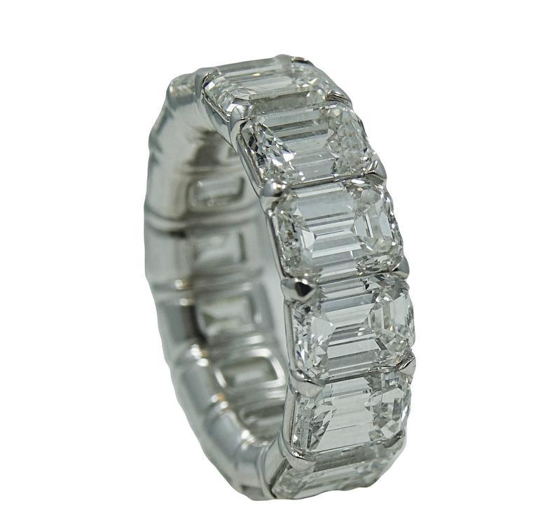 11.18 Carat Radiant Diamond Platinum Eternity Band Ring 2