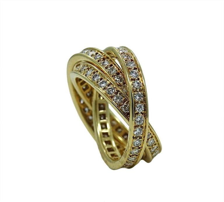 Cartier Diamond Yellow Gold Trinity Ring In Excellent Condition For Sale In Naples, FL