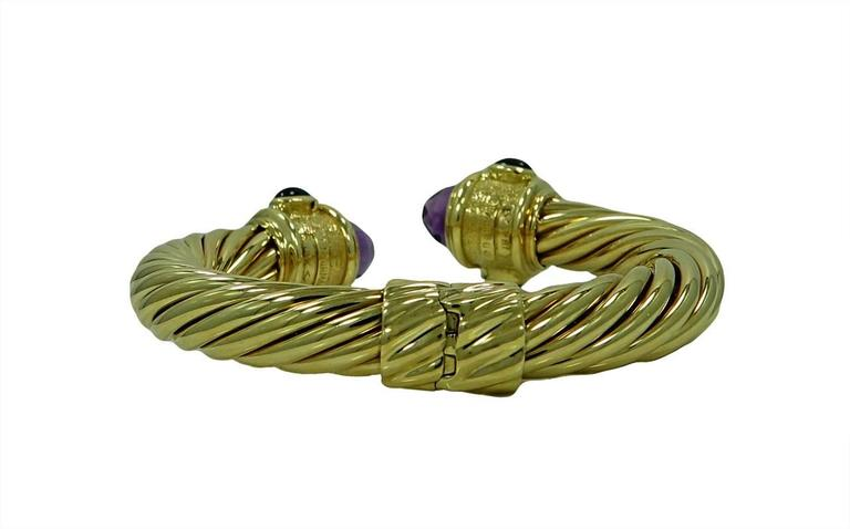 David Yurman  Amethyst Malachite Yellow Gold Bracelet 2