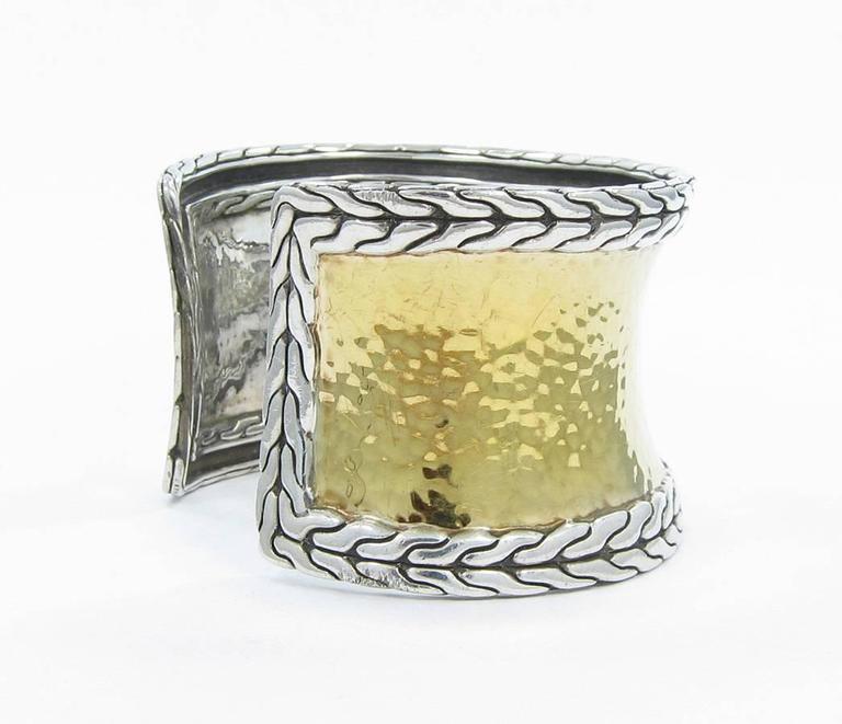 John Hardy Yellow Gold And Sterling Silver Palu Cuff