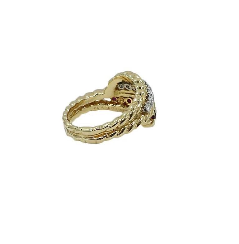Van Cleef & Arpels Diamond Ruby Cocktail Gold Ring 2