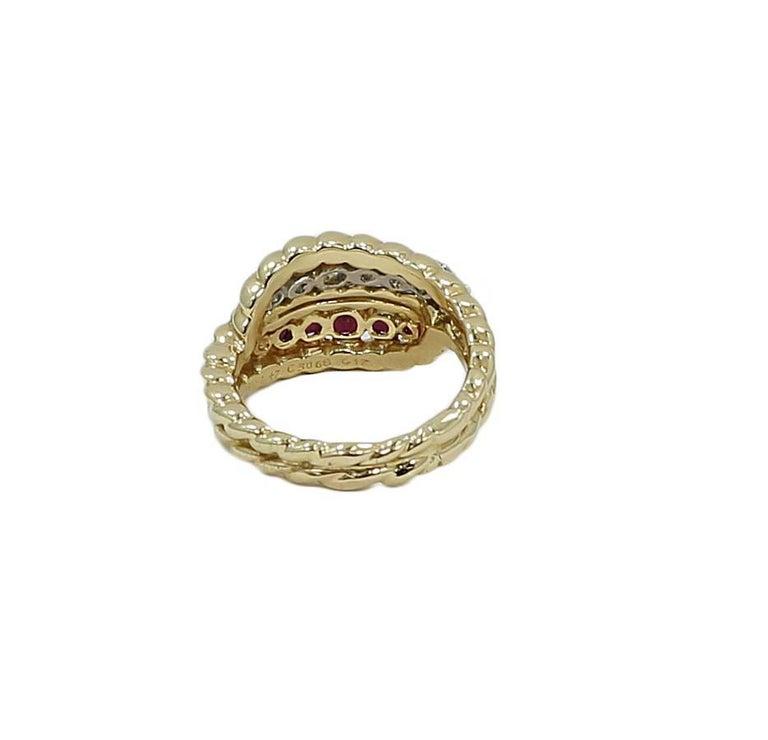 Van Cleef & Arpels Diamond Ruby Cocktail Gold Ring 3