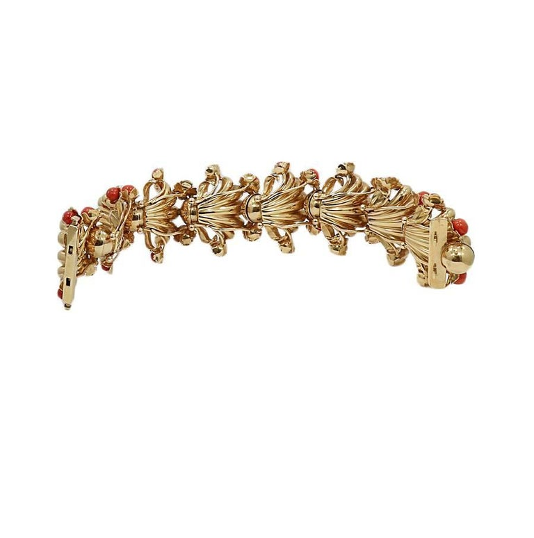 Women's or Men's Coral Fashion Yellow Gold Bracelet For Sale