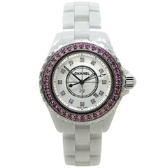 Chanel White Ceramic J12 Pink Sapphire Quartz Wristwatch