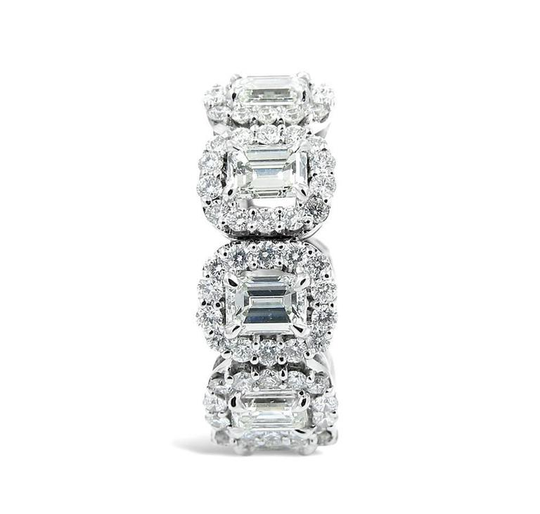Emerald Cut Diamond gold Eternity Band Ring with Halo 2