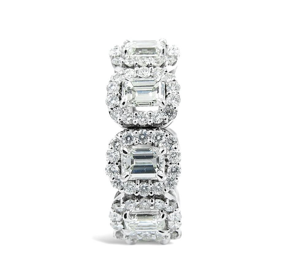 emerald cut gold eternity band ring with halo for