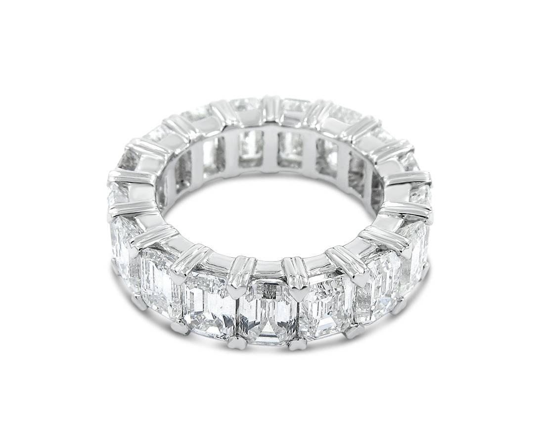 emerald cut platinum eternity band ring for sale